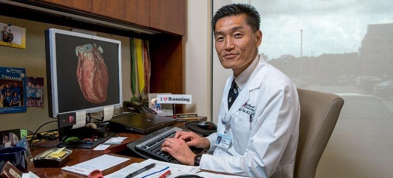 Dr. Harvey Hahn at computer