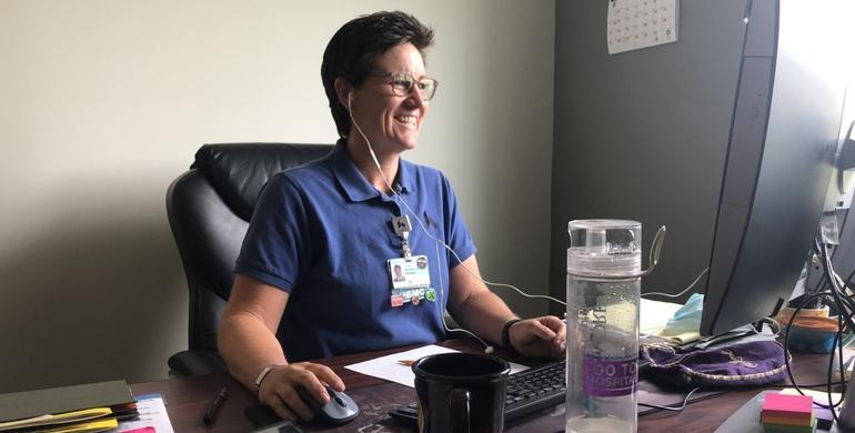 Psychotherapist sitting at her desk