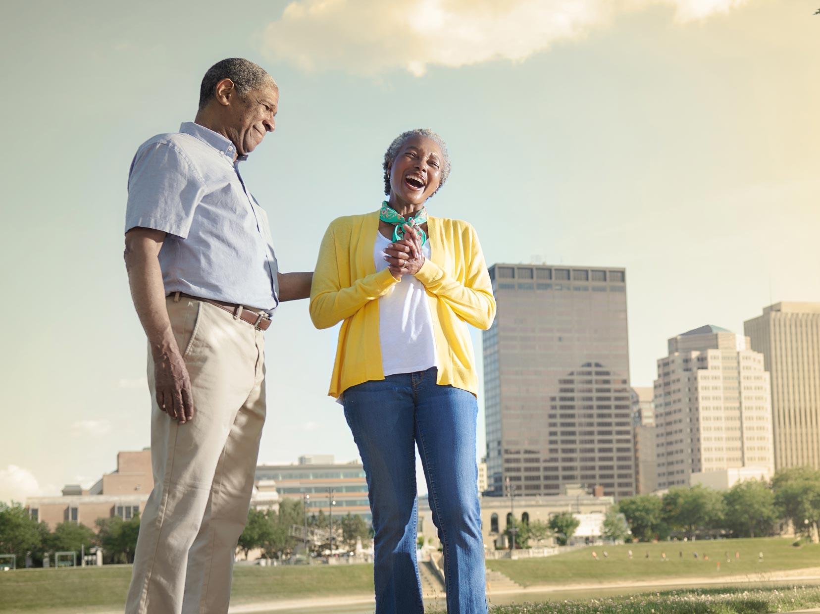 elderly couple walking in Dayton, Ohio