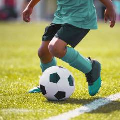 Young athlete playing soccer