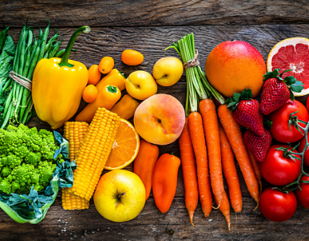 Vibrant fruit and vegetables