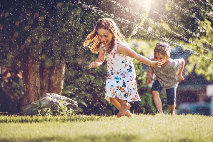 Children playing in summer heat