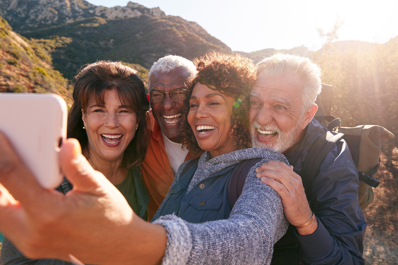 Group of seniors taking a selfie