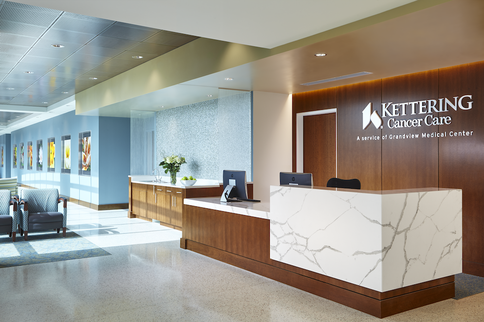 The front desk of Kettering Cancer Center, a service of Grandview Medical Center